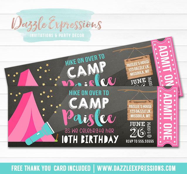Printable Camping Chalkboard Ticket Birthday Invitation - Girls - free printable camping invitations