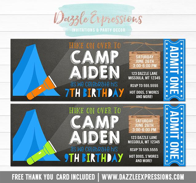 Printable Camping Chalkboard Ticket Birthday Invitation -Boys - free printable camping invitations