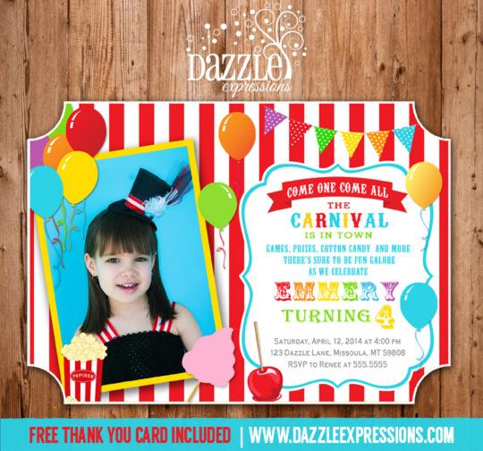 Printable Girl Circus or Carnival Birthday Invitation Girl - best of invitation card birthday party