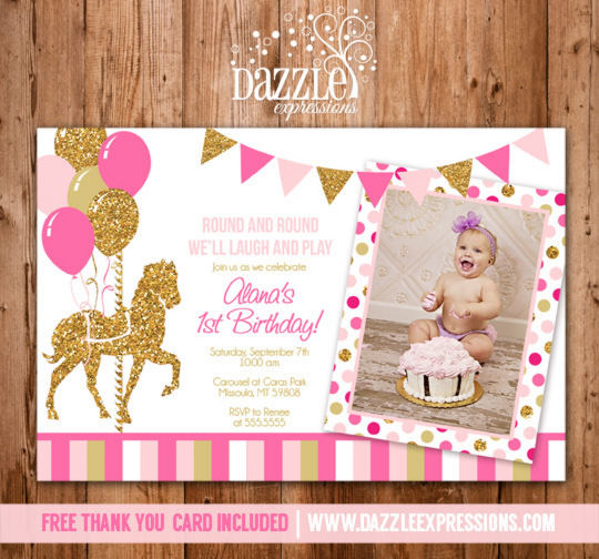 Printable Pink and Gold Carousel Birthday Photo Invitation - Girl - printable girl birthday invitation cards