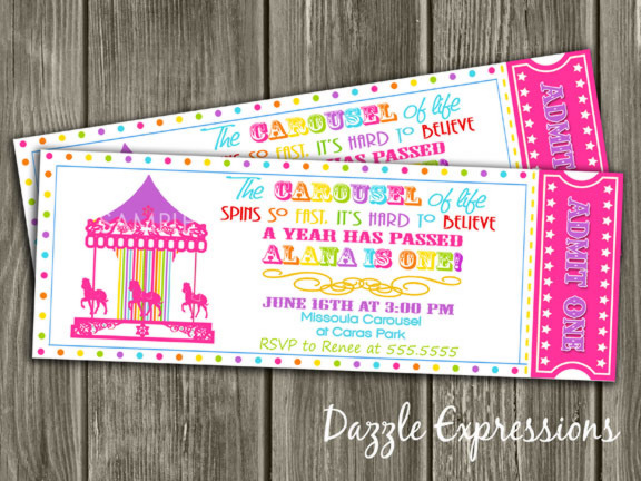 Printable Rainbow Carousel Ticket Birthday Invitation - FREE Thank - ticket invitation