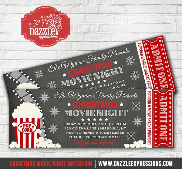 Printable Christmas Movie Night Chalkboard Ticket Invitation - Movie - ticket invitation