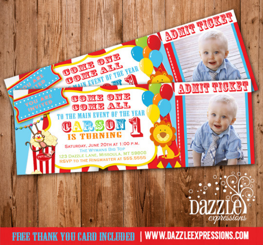 Circus Ticket Birthday Photo Invitation - Printable - Thank you card - circus party invitation