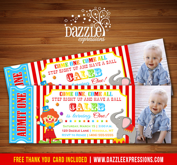 Circus Ticket First Birthday Photo Invitation - Carnival - Printable