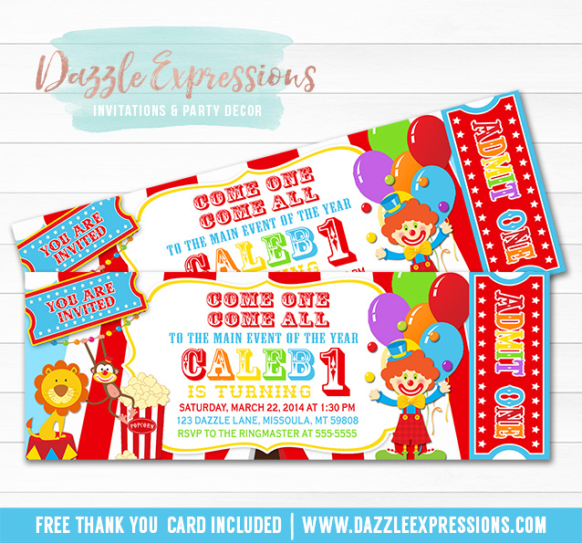 Printable Circus or Carnival Ticket Birthday Invitation - Kids Birthday