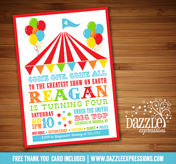 Printable Circus or Carnival Birthday Invitation - Kids Party - FREE