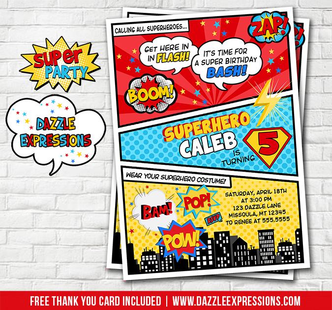 Printable Superhero Party Comic Book Birthday Invitation - Kids