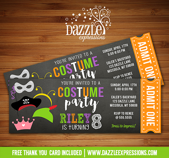 Printable Costume Party Ticket Birthday Invitation - Kids Halloween