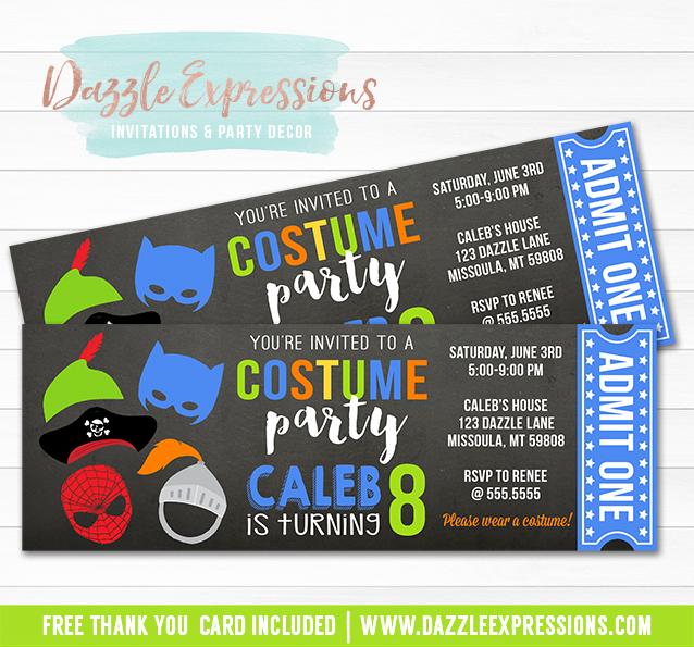 Printable Boys Costume Party Ticket Birthday Invitation - Kids