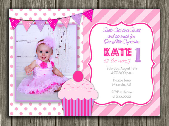 Pink and Purple Cupcake First Birthday Photo Invitation - Thank You