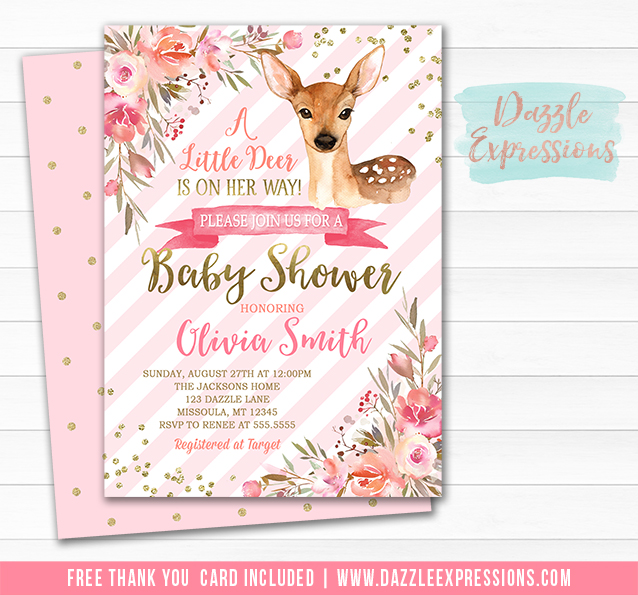 Printable Floral Deer Baby Shower Invitation - Baby Fawn - Baby Girl