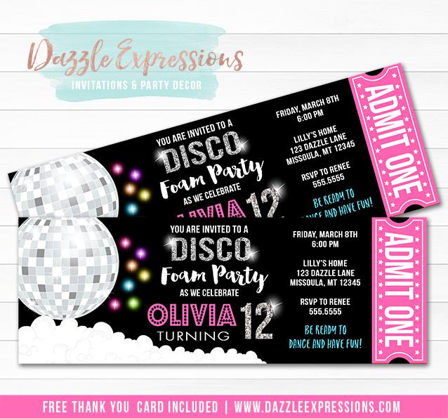 Printable Disco Dance Foam Party Ticket Birthday Invitation - 70s Party - party ticket invitations