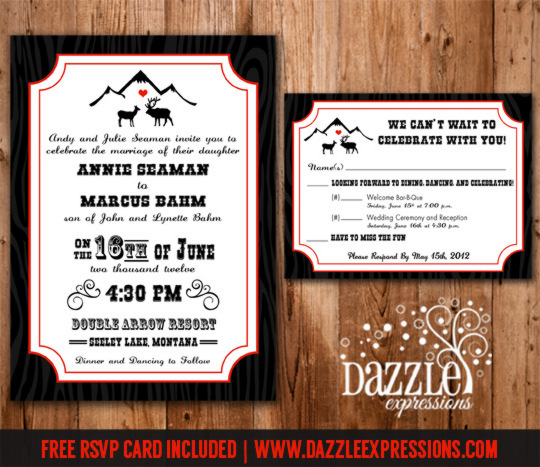 Rustic Elk Love Wedding Invitation - RSVP Card Included