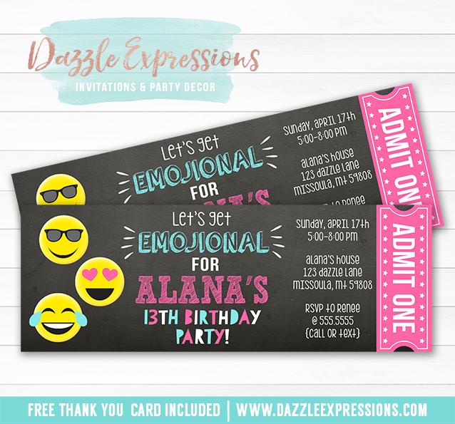 Printable Tween Emoji Chalkboard Ticket Invitation - Teenager