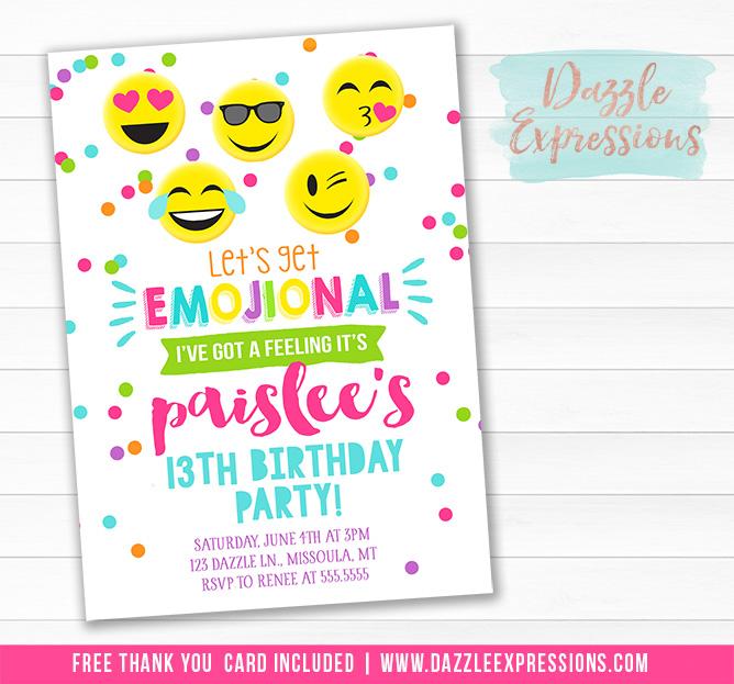 Printable Tween Emogional Chalkboard Birthday Invitation - smiley - free thank you cards