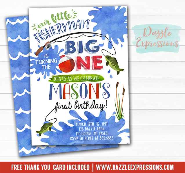 Printable Fishing Watercolor First Birthday Invitation - BIG ONE