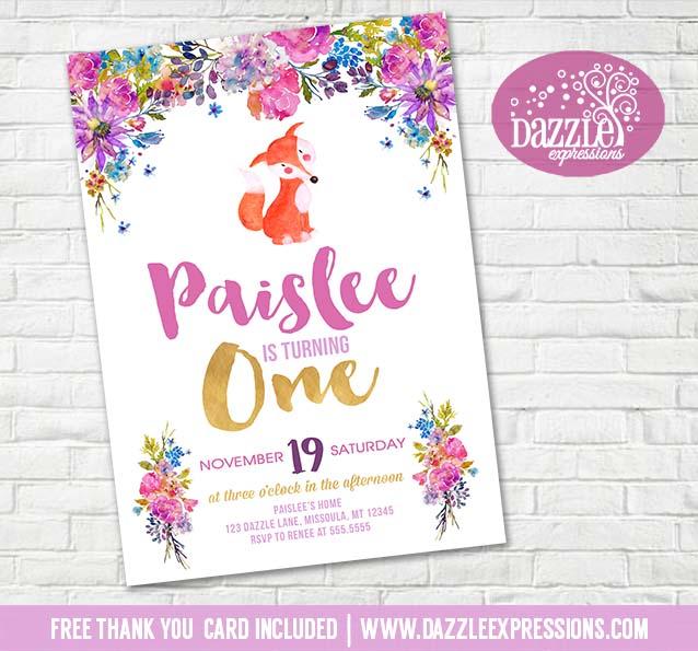 Floral Fox Birthday Invitation 2 - FREE thank you card