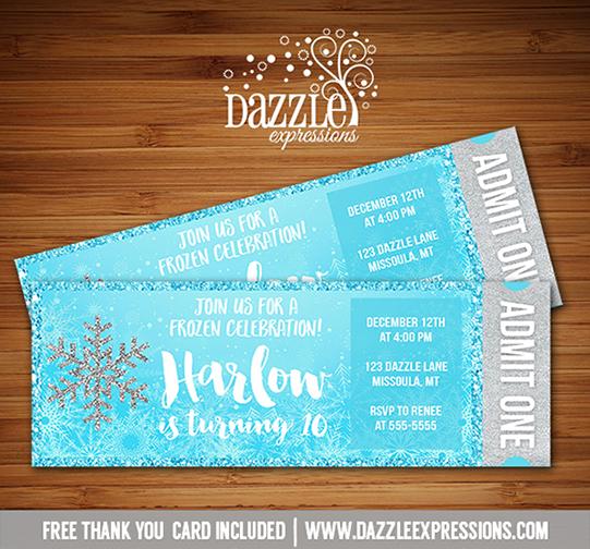 Printable Glitter Snowflake Frozen Ticket Birthday Invitation - free printable ticket style invitations