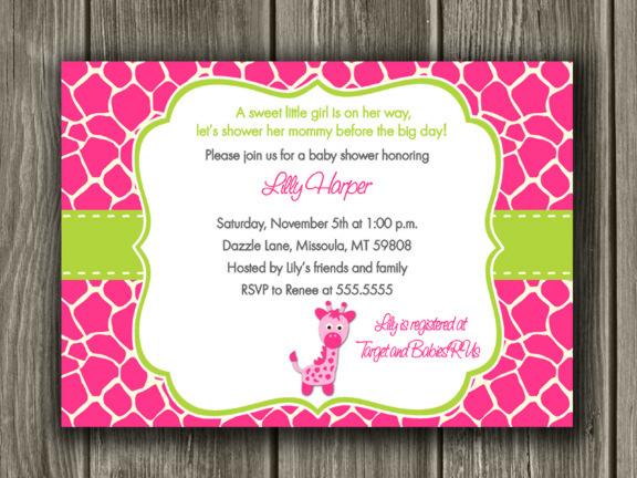Pink and Green Giraffe Baby Shower Invitation - Printable