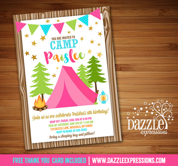 Printable Pink and Gold Glamping Birthday Invitation - Camping Party - free printable camping invitations
