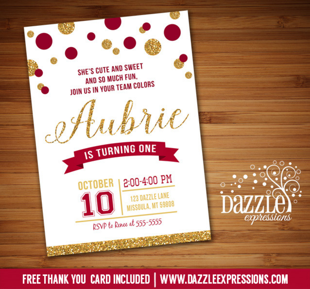 Printable Girl Glitter Sports Team Birthday Invitation - FSU - Girl - printable girl birthday invitation cards