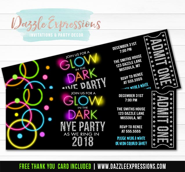 Printable Glow in the Dark New Years Eve Ticket Invitation - Neon