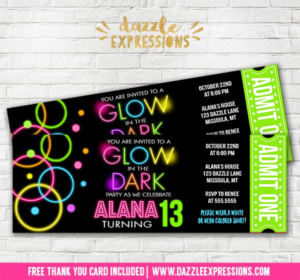 Printable Girl Glow in the Dark Ticket Birthday Invitation - Disco - ticket invitation