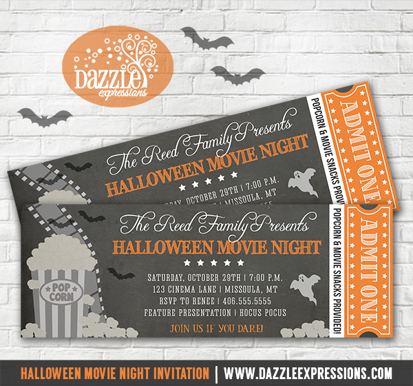 Printable Halloween Movie Night Chalkboard Ticket Invitation - invitation for halloween party