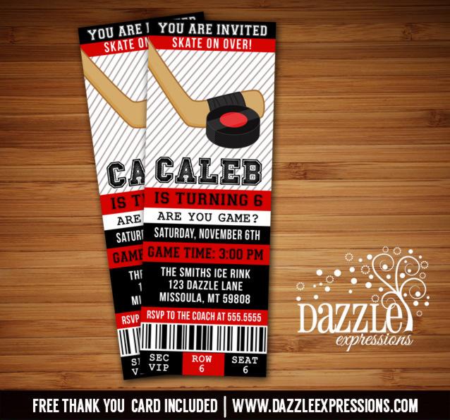 Hockey Ticket Birthday Invitations - FREE thank you card included