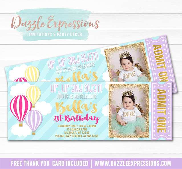 Printable Hot Air Balloon Ticket Birthday Invitation - Colorful and Gold