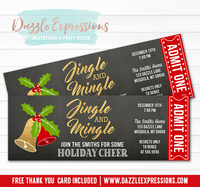 Printable Jingle and Mingle Holiday Party Ticket Invitation - Red