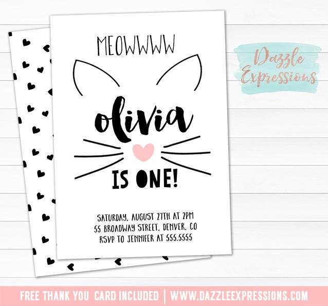 Printable Kitten Birthday Invitation - Modern Cat Party - Black, White