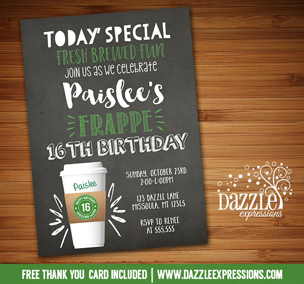 Latte Coffee Cup Chalkboard Invitation - FREE thank you card included