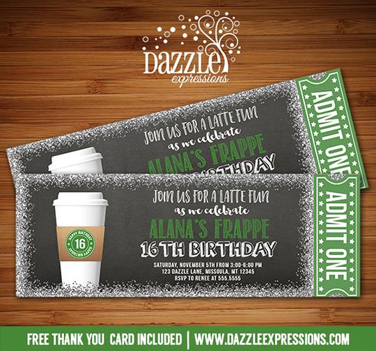 Printable Coffee Latte Glitter Chalkboard Ticket Birthday Invitation - free printable ticket style invitations