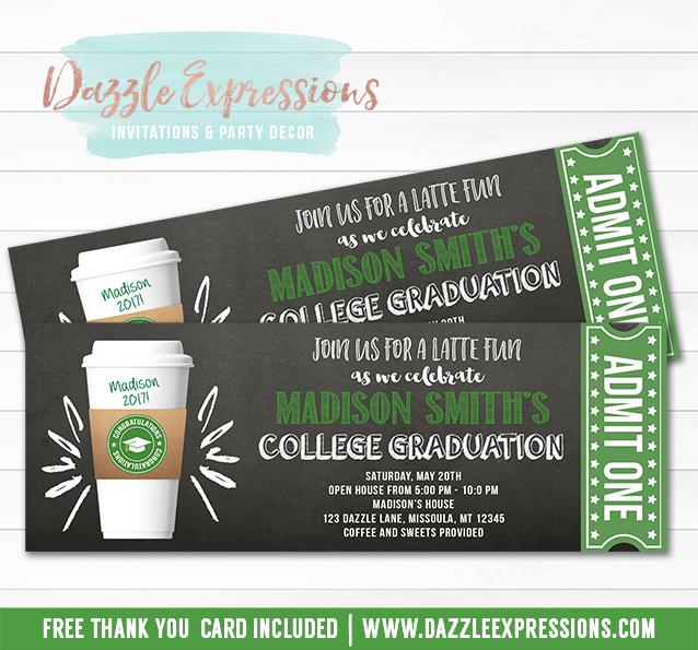 Printable Starbucks Inspired Chalkboard Ticket Graduation Invitation - free printable ticket style invitations