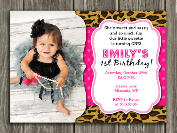Printable Girl Leopard Print Birthday Photo Invitation - Animal Print