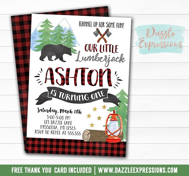 Printable Lumberjack Watercolor Birthday Invitation - Plaid Flannel