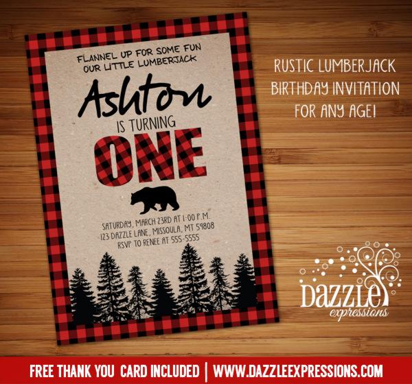 Printable Rustic Plaid Lumberjack Birthday Invitation - Buffalo - free printable camping invitations