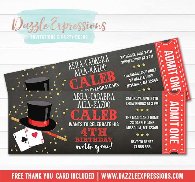 Printable Magic Show Ticket Birthday Invitation - Magician Event - ticket invitation