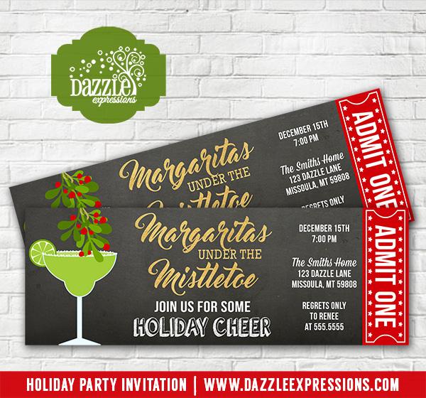 Printable Margaritas Under the Mistletoe Holiday Party Chalkboard - ticket invitation