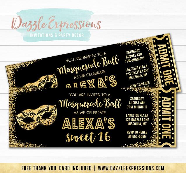 Printable Black and Gold Masquerade Ticket Birthday Invitation - ticket invitation