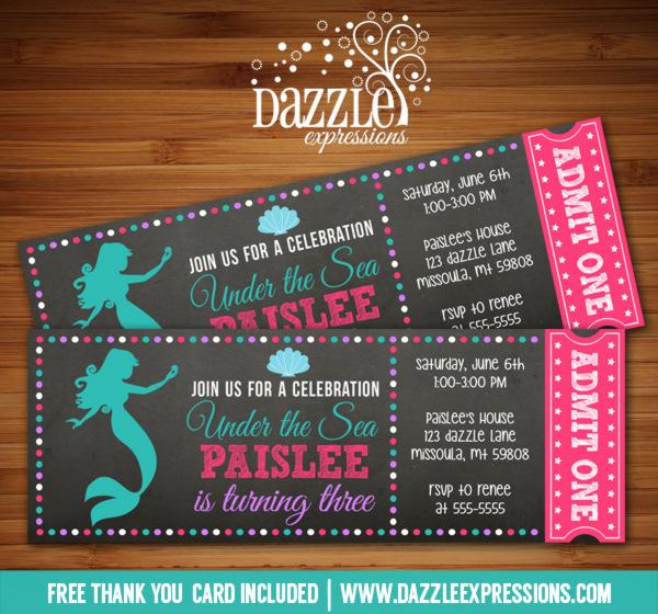 Printable Mermaid Chalkboard Ticket Birthday Invitation - Under - ticket invitation