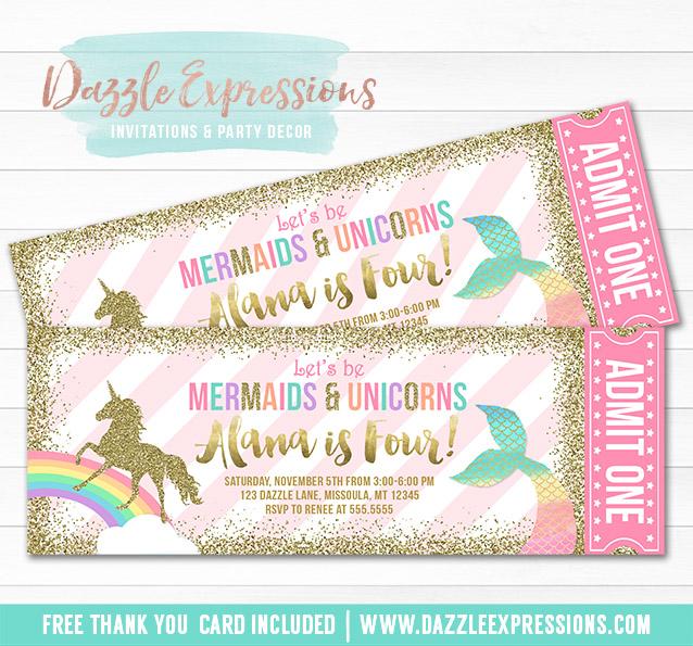 Printable Mermaid and Unicorn Ticket Invitations - Magical Rainbow