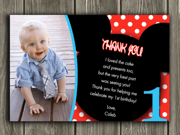 Printable Mickey Mouse Photo Thank You Card - Birthday Party