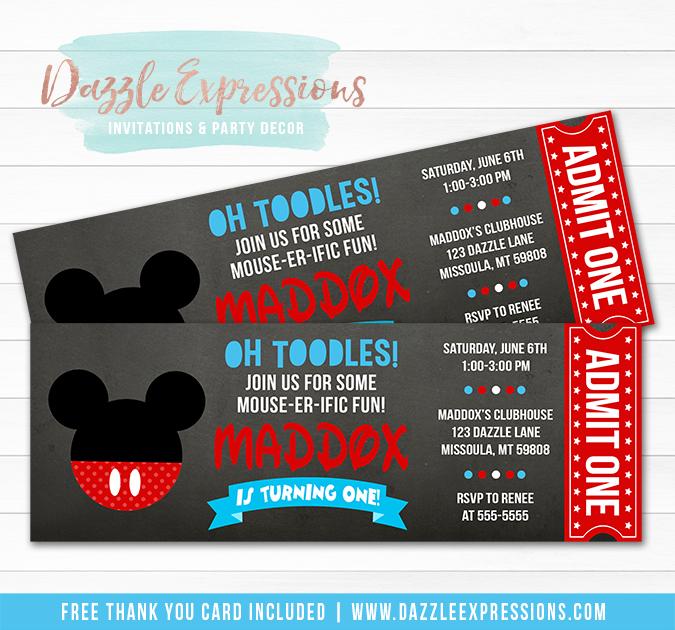 Printable Mickey Mouse Inspired Chalkboard Ticket Birthday Invitation