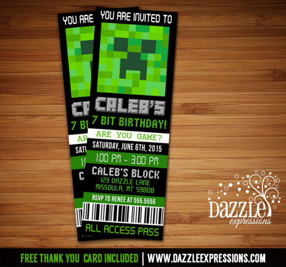 Minecraft Inspired Ticket Birthday Invitation - FREE thank you card