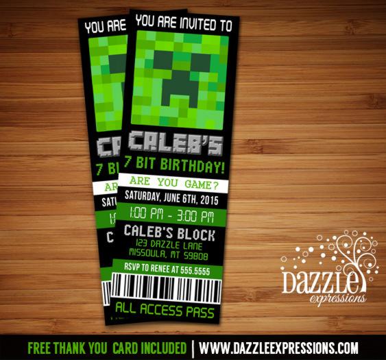 Printable Minecraft Inspired Ticket Birthday Invitation - Digital - free printable ticket style invitations