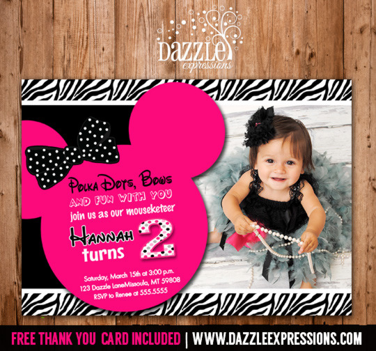Printable Minnie Mouse Birthday Invitation - Girls First or Second