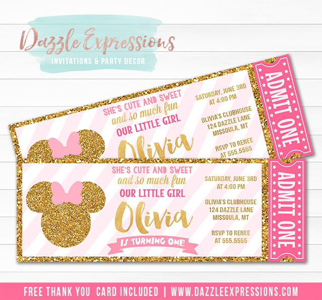 Printable Pink and Gold Minnie Mouse Inspired Ticket Birthday