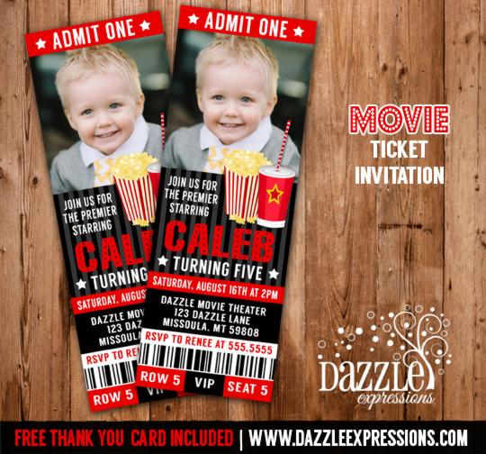 Printable Movie Ticket Birthday Invitation - Movie Night - Movie - movie ticket invitations printable free